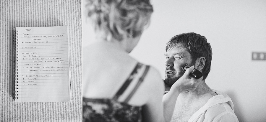 Groom being shaved by mother