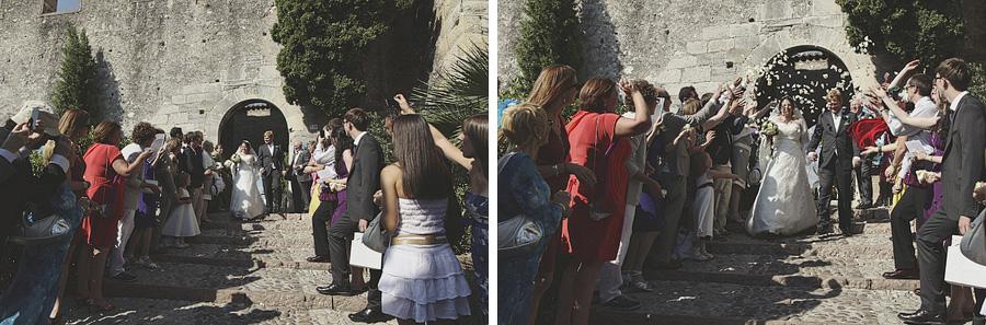 confetti outsides the gates of Malcesine Castle