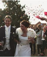 bride and groom confetti wedding photograph at Preston Court
