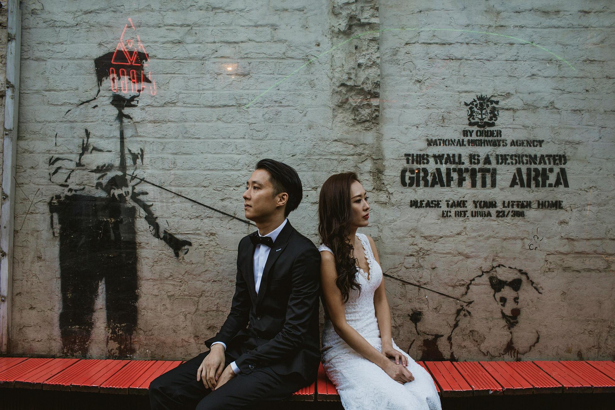 London Wedding Portrait Graffiti