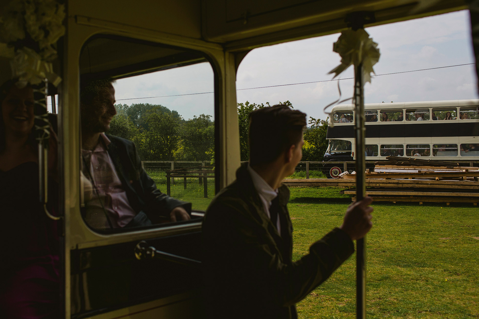 Vintage buses at Skipton Country Weddings
