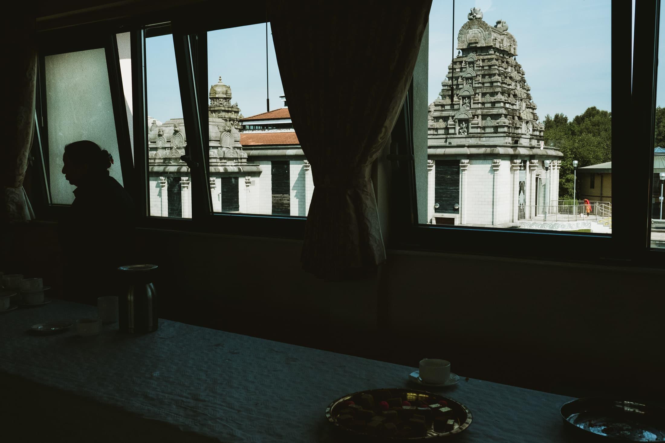 silhouette with Shri Venkateswara Balaji Temple
