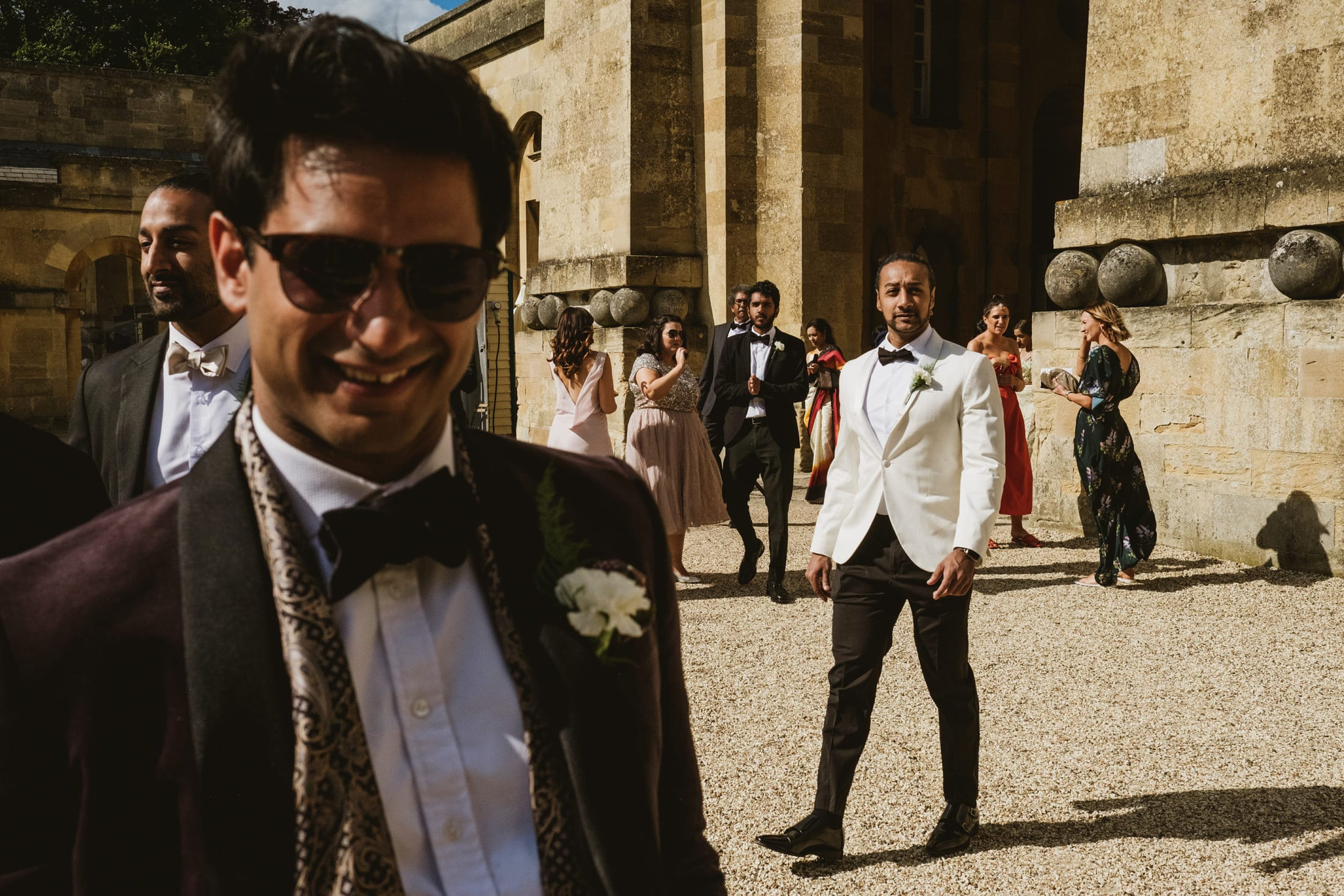 Blenheim Palace wedding guests arriving