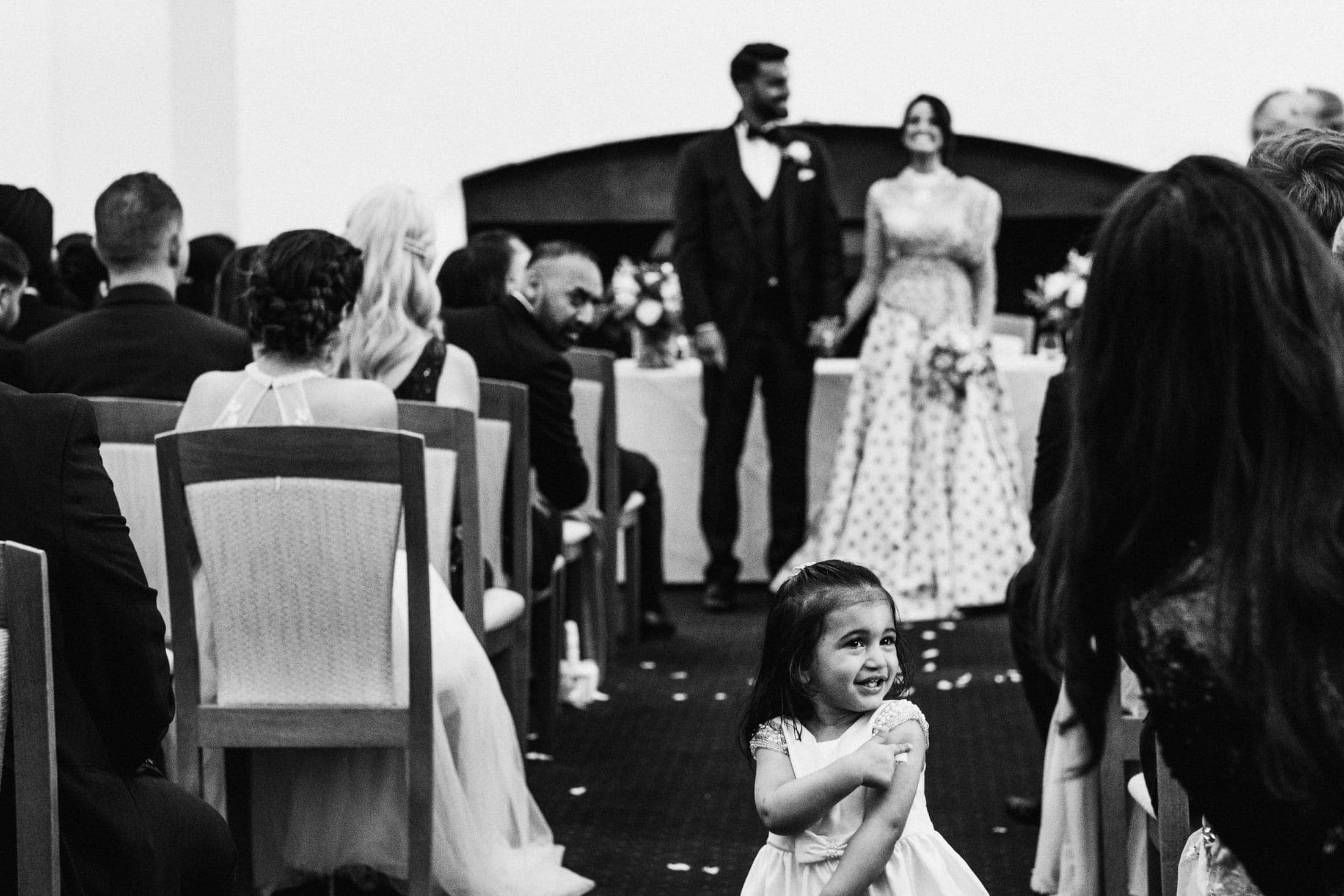 Blenheim Palace wedding ceremony flower girl stealing the show