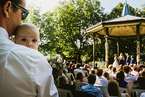 Battersea Park in London wedding ceremony little baby waiting patiently