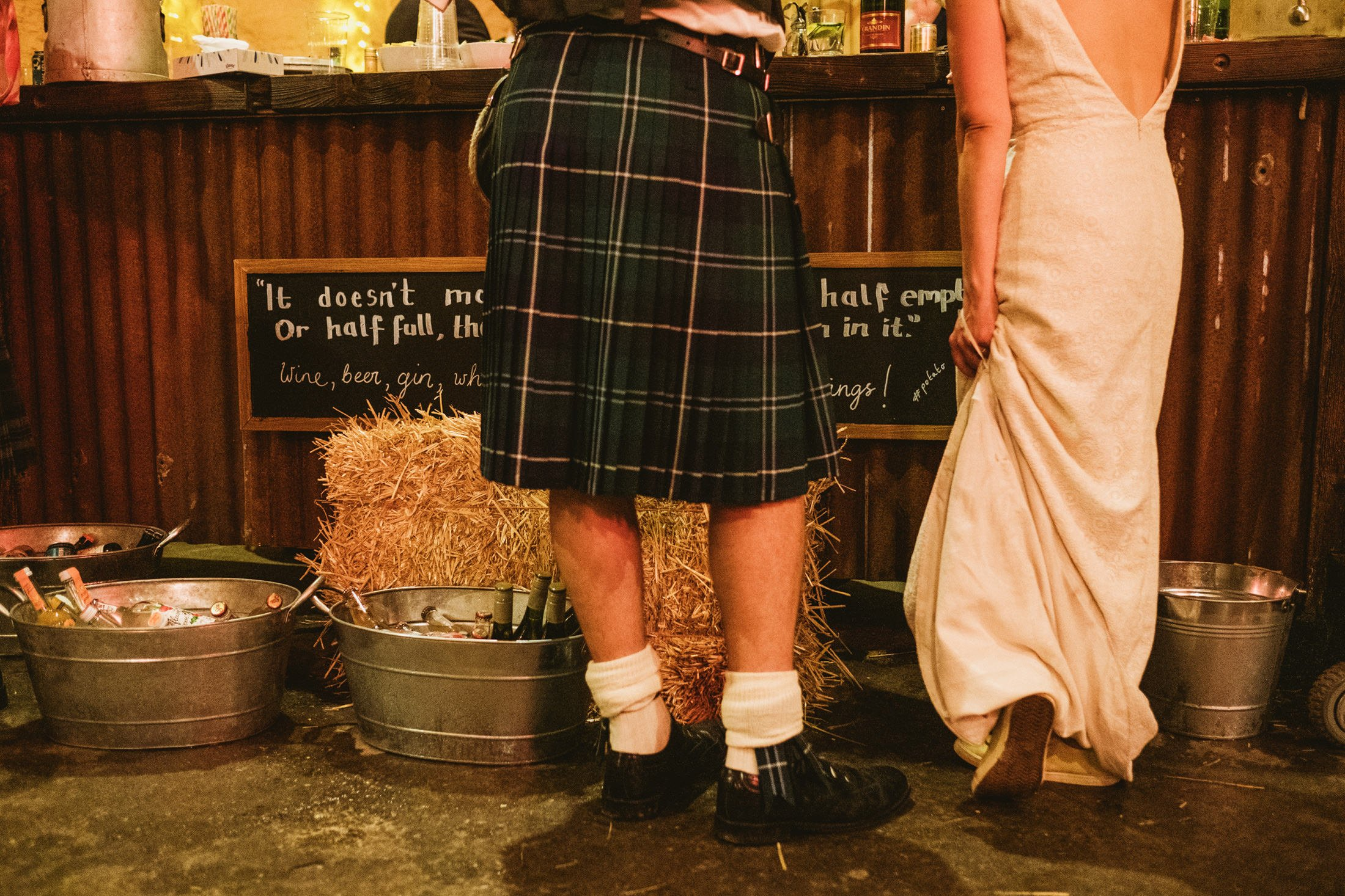 bride and groom waiting at the Comrie Croft bar