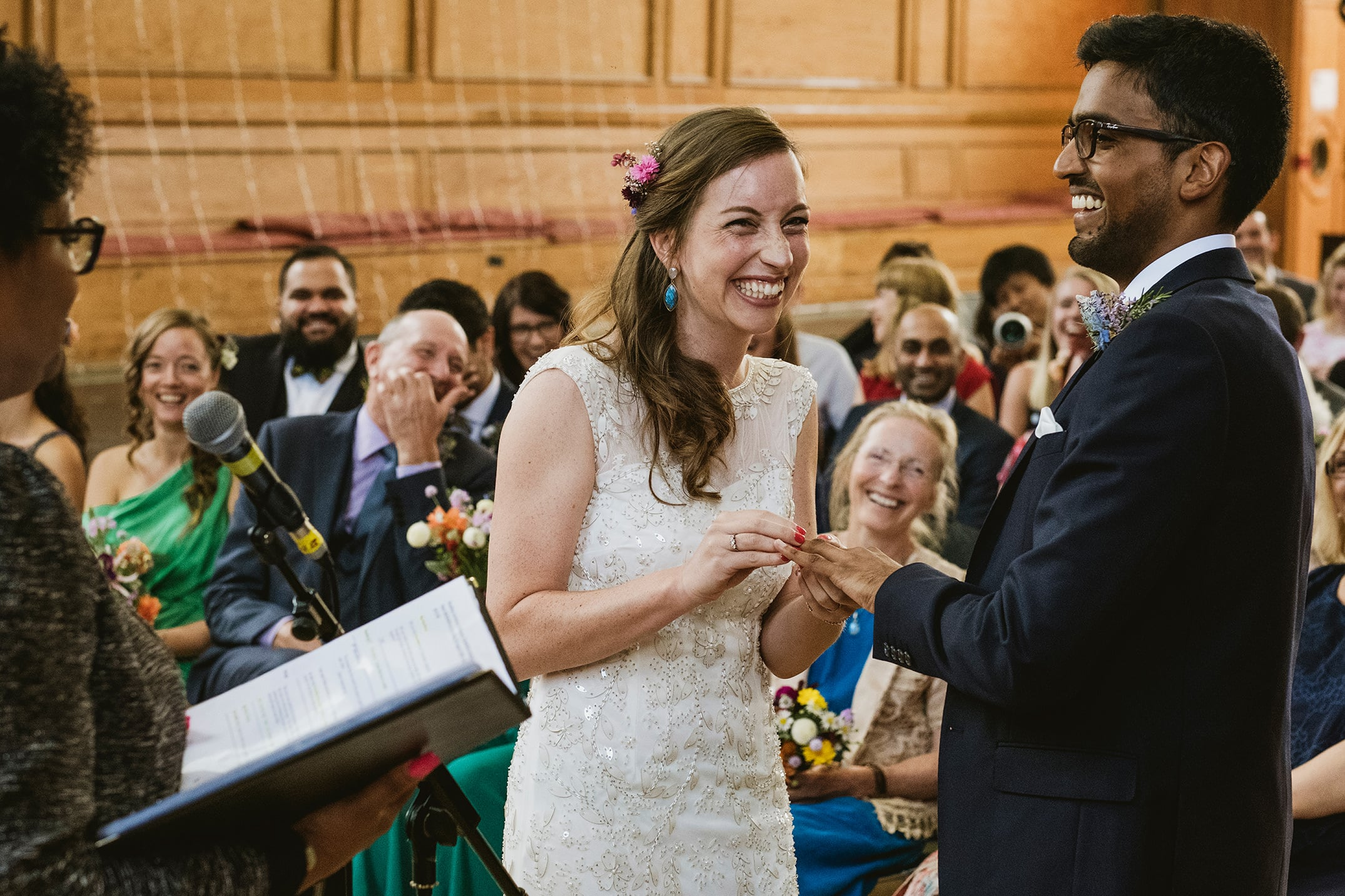 Cecil Sharp House bride and groom exchanging vows in London