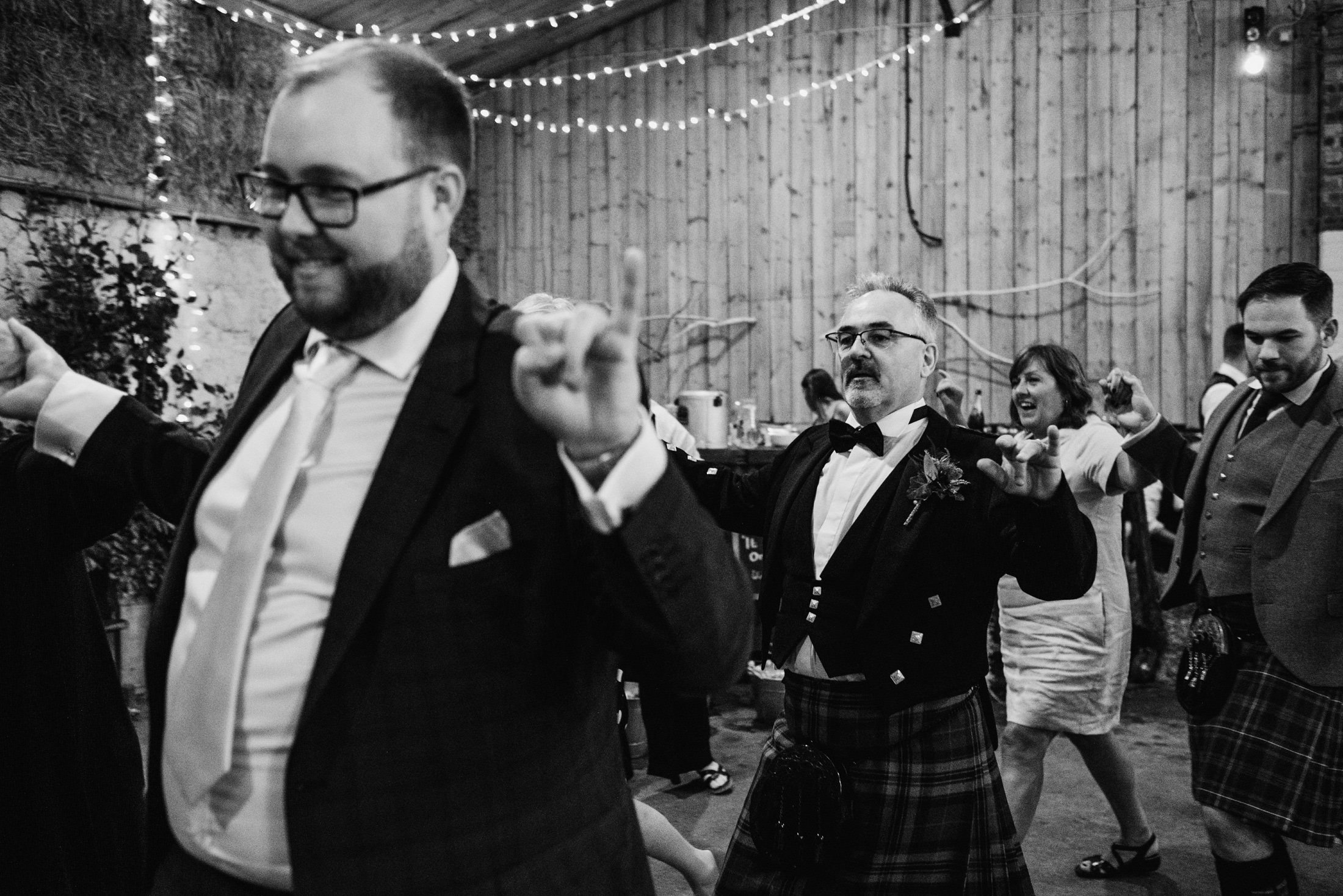 ceilidh dancing in black and white
