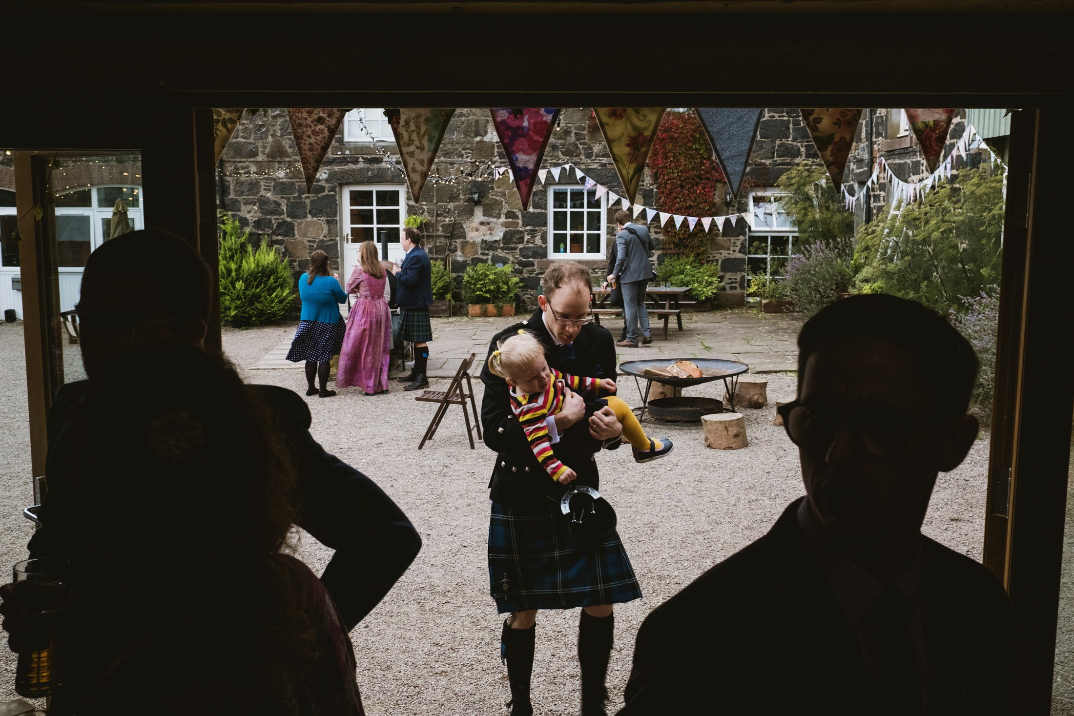 wedding guests at Comrie Croft