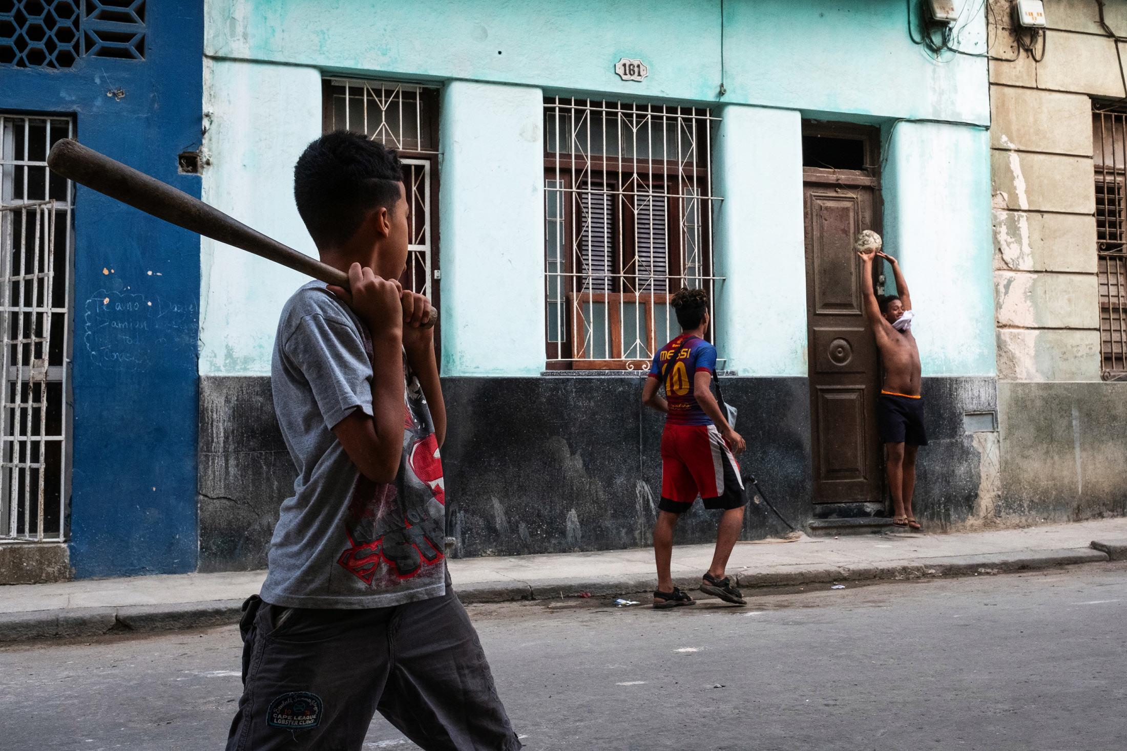 boys playing baseball in Havana, Cuba