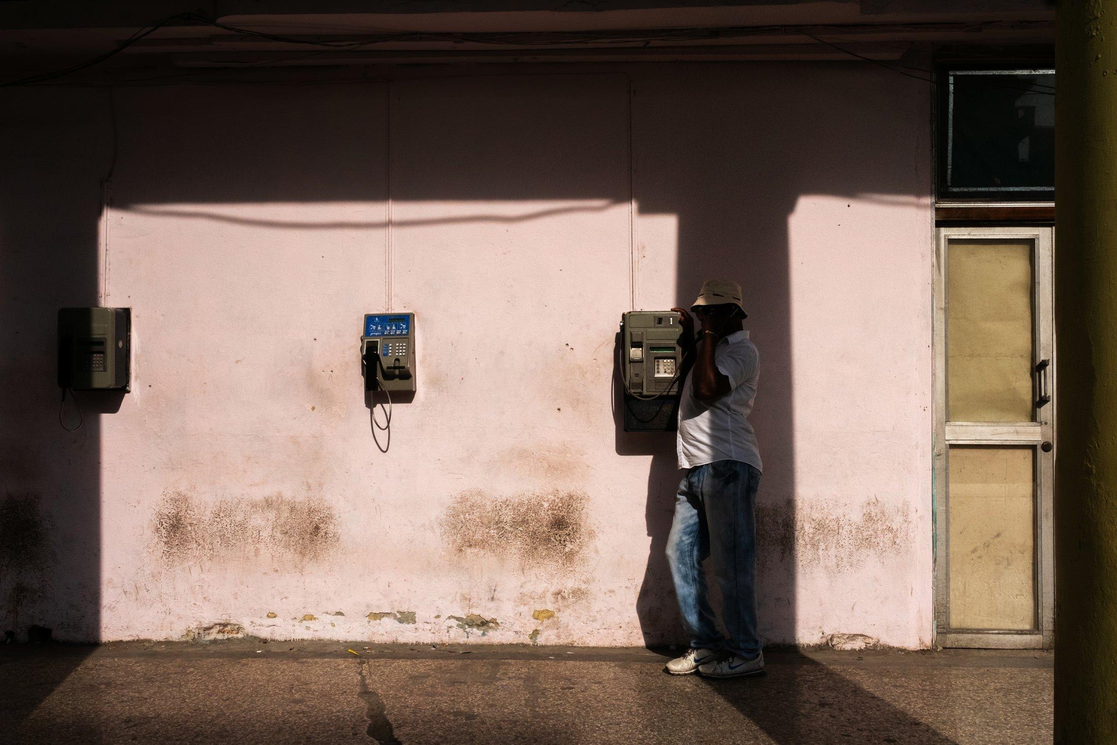 man on the phone in Havana, Cuba