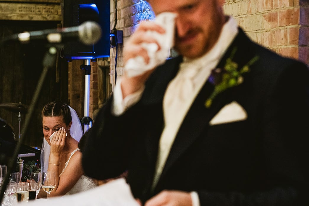 Emotional groom's speech at Kingsthorpe Lodge Barn Cambridgeshire