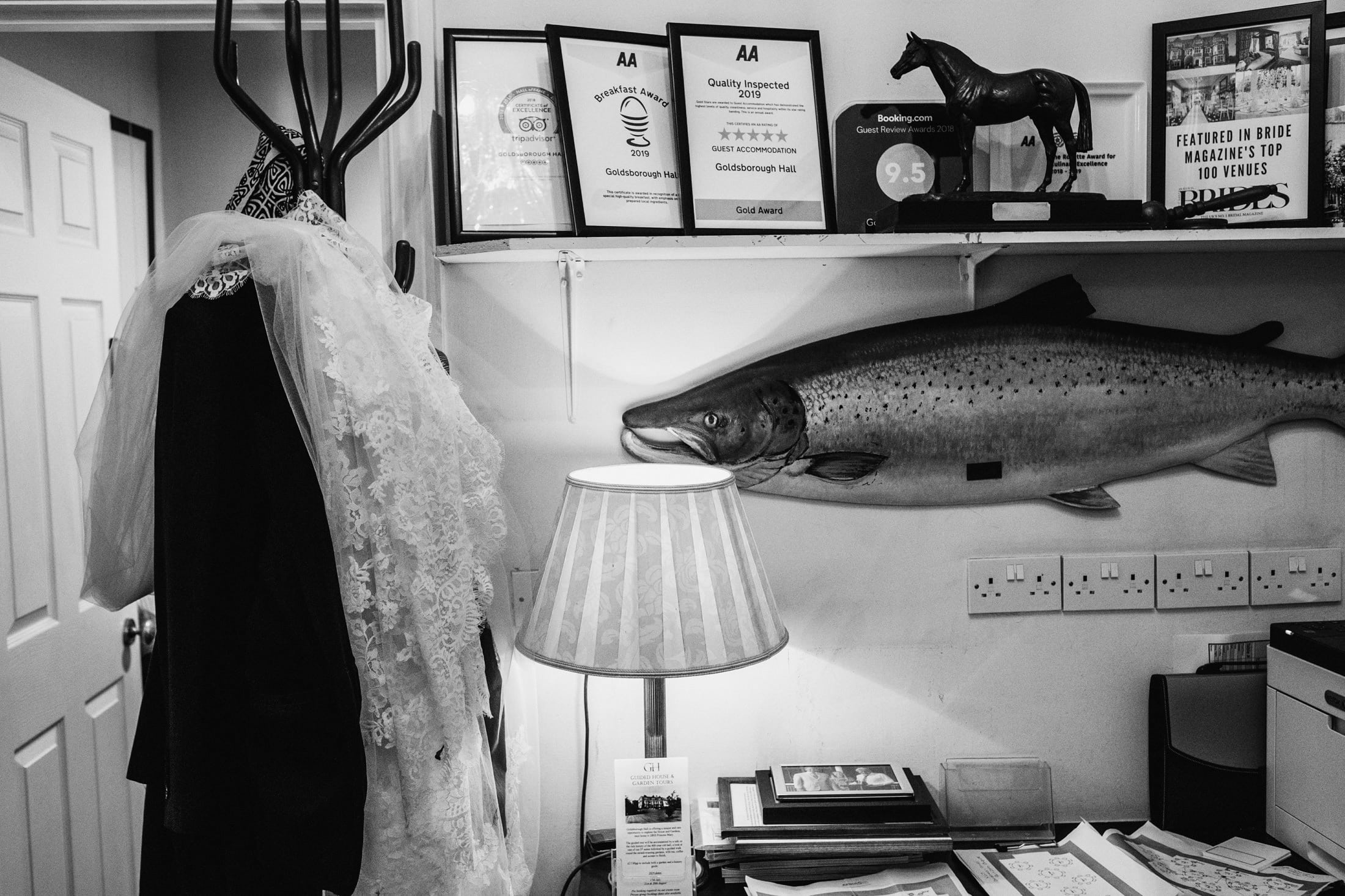 veil hanging in the office with a fish plaque