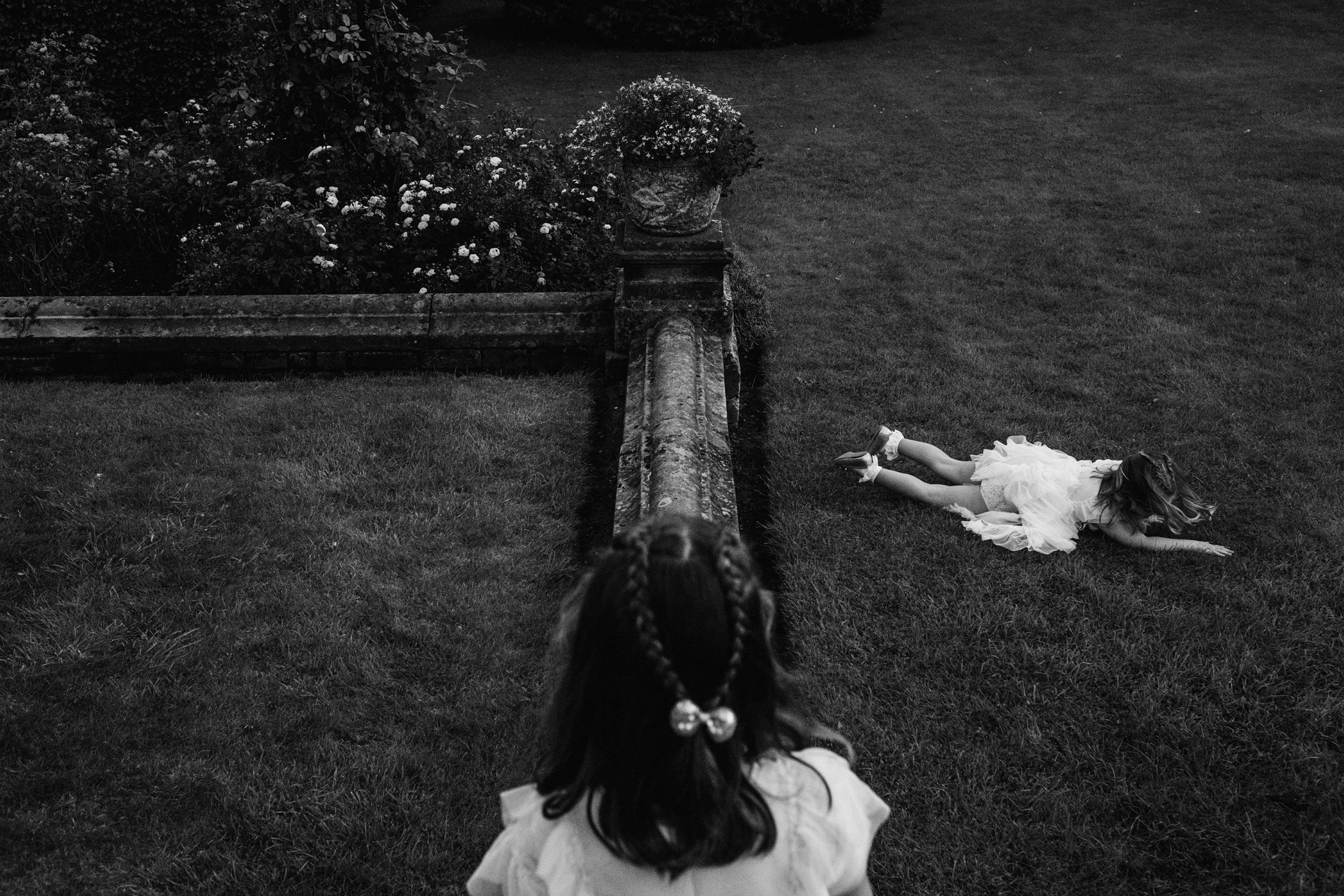 girl tripped up on the grass at Goldsborough Hall