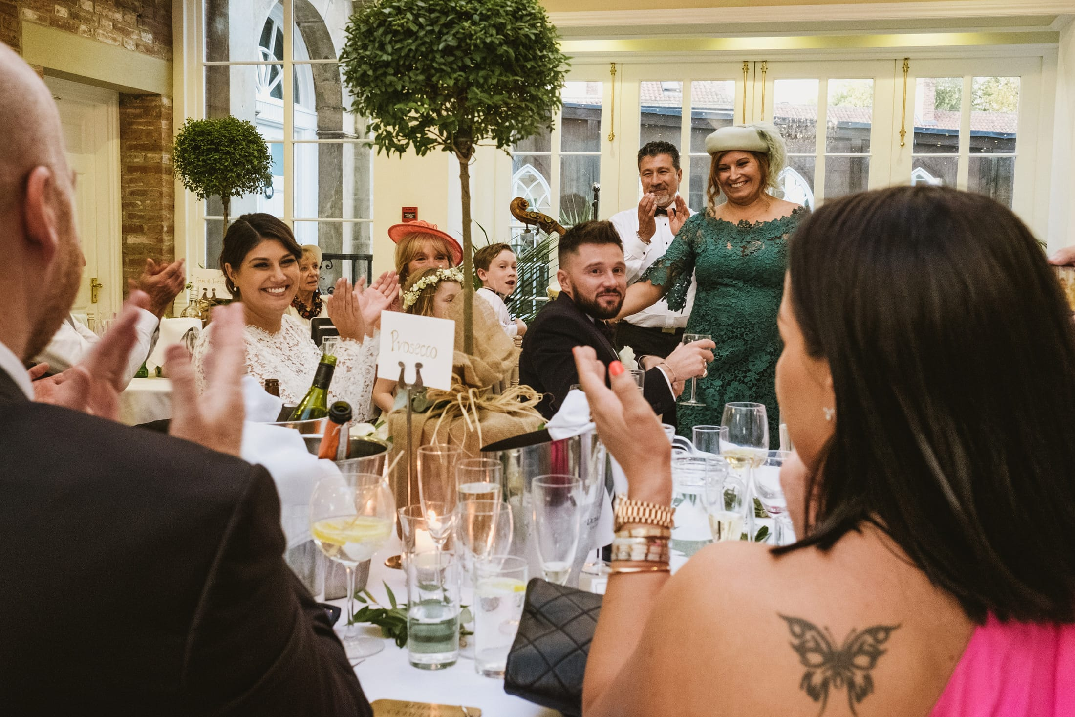 wedding speeches with the whole family at Goldsborough Hall