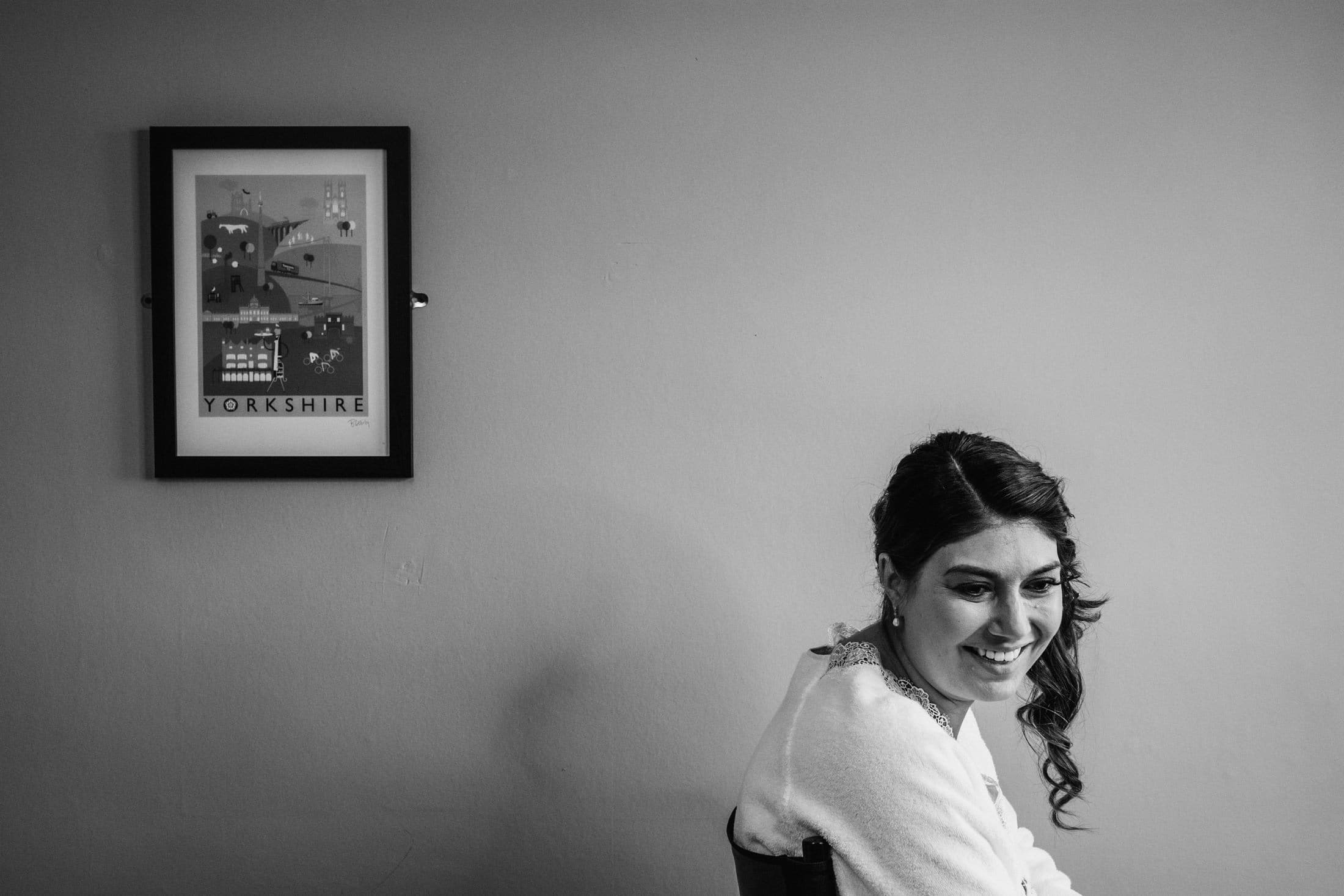 bridal preparations with Yorkshire frame in background
