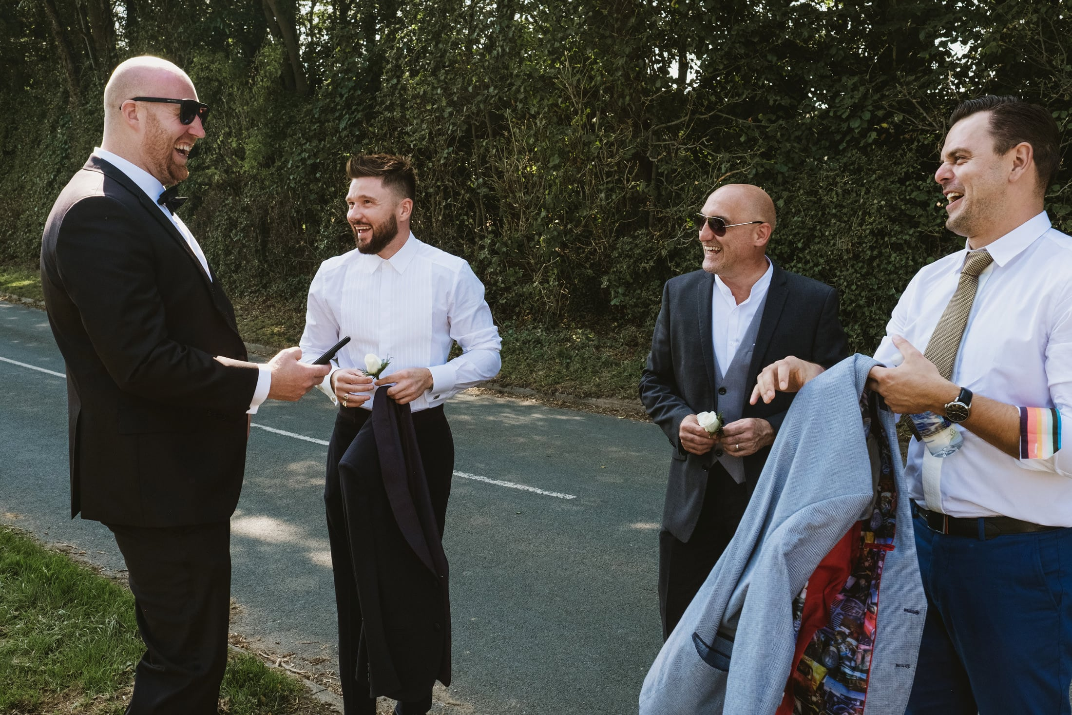 groomsmen getting ready outside