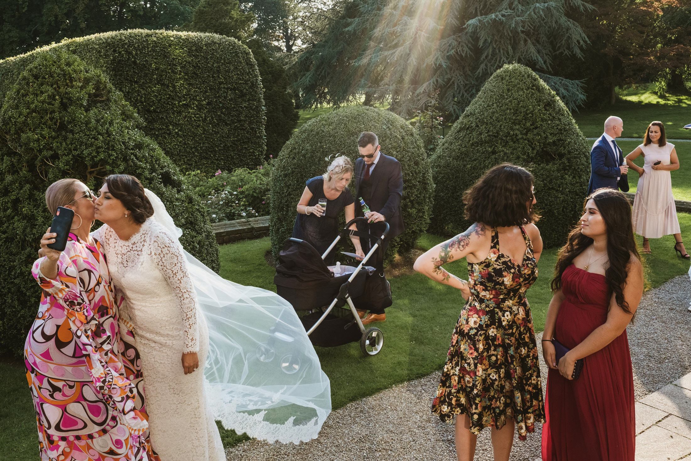 natural grouping of wedding guests at Goldsborough Hall