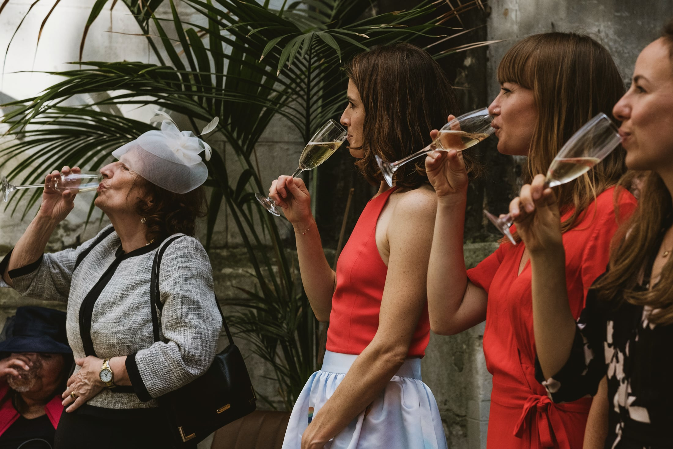 four female wedding guests face the same direction as they simultaneously take a drink of champagne