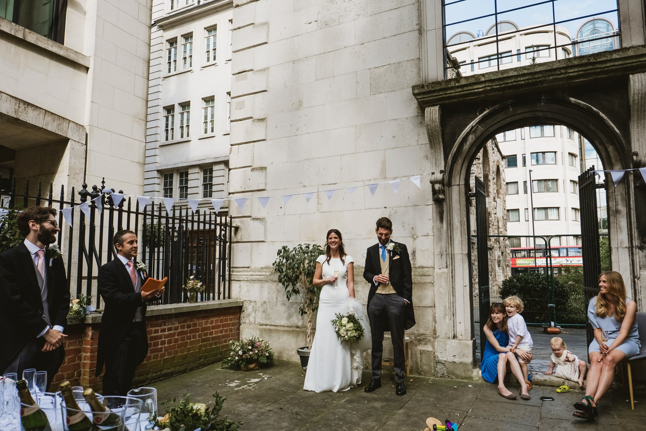 Wedding speeches take place in London's Greyfriars passage
