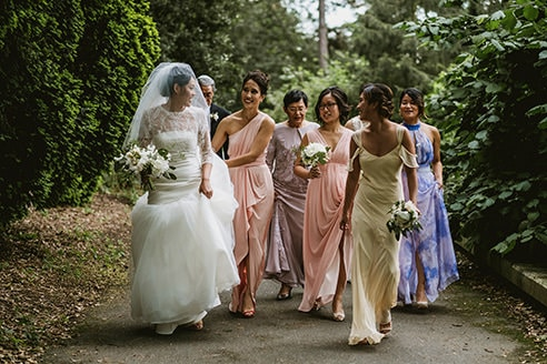 Kew Gardens bridal party. Bride and bridesmaids walking to the ceremony.
