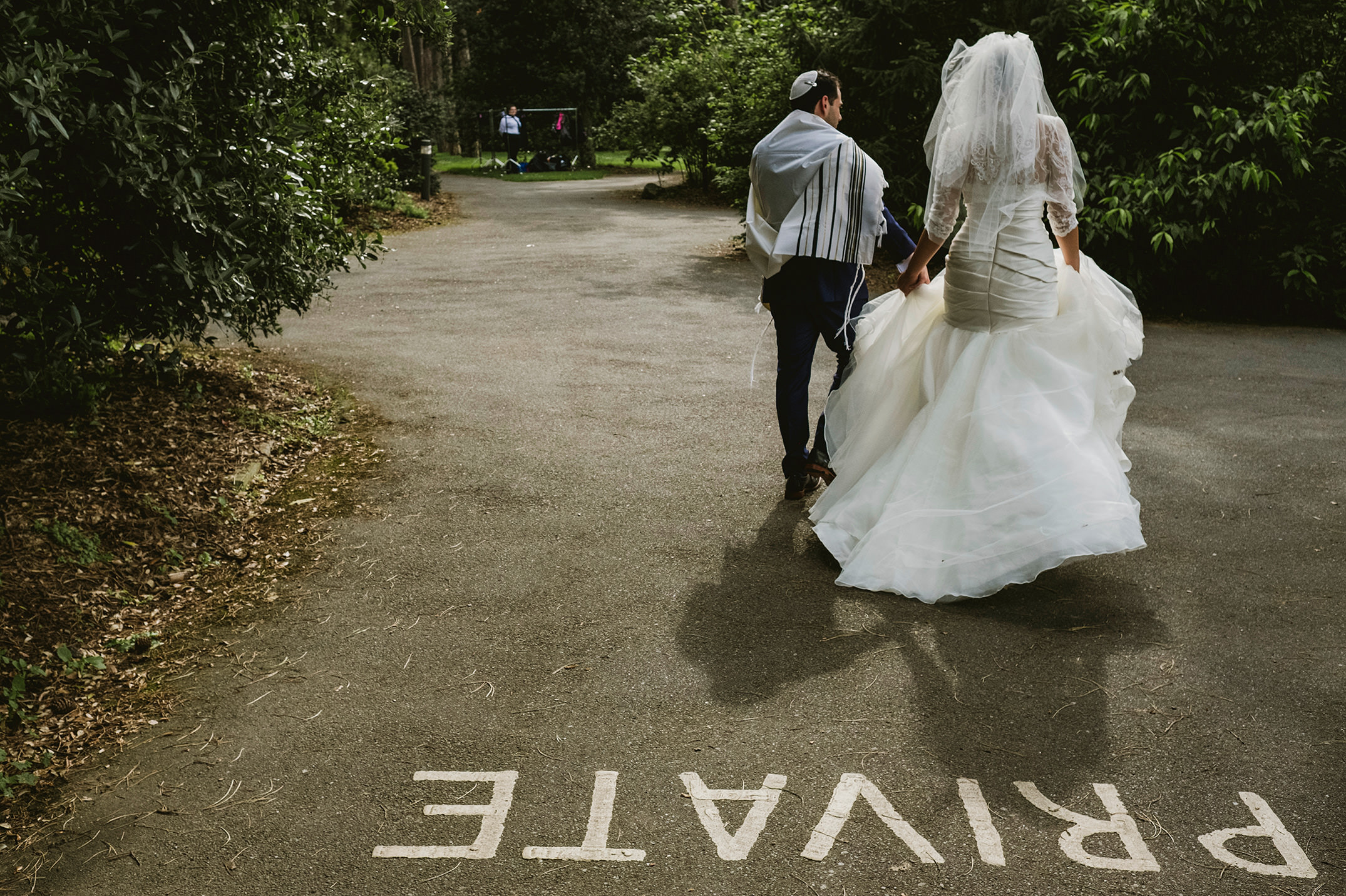 Kew Gardens bride and groom alone time. Private sign on the road.