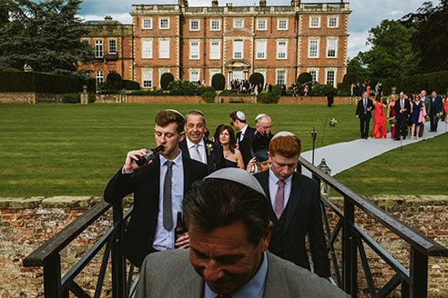Newby Hall wedding guests arriving for reception