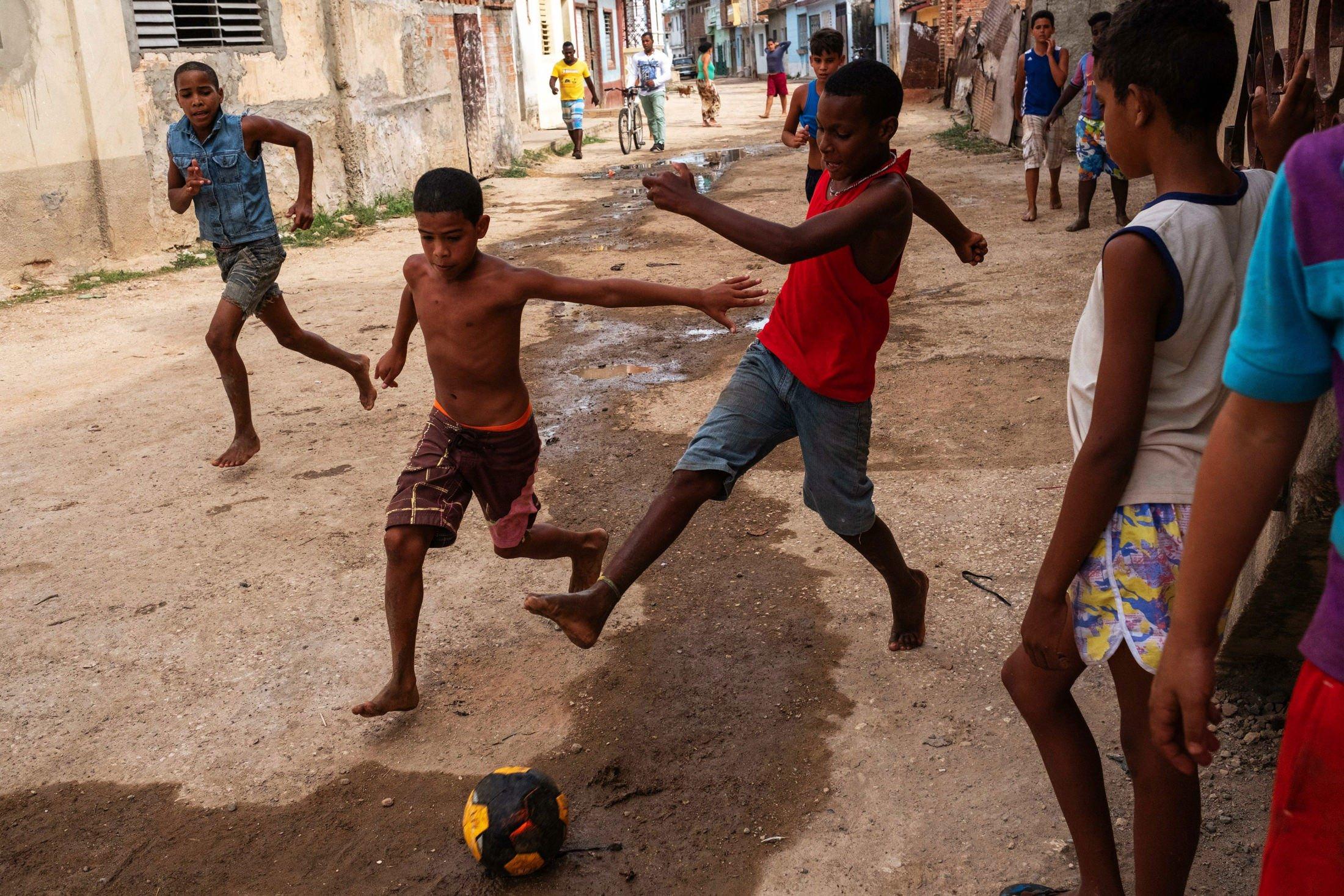 dynamic shot of children playing football