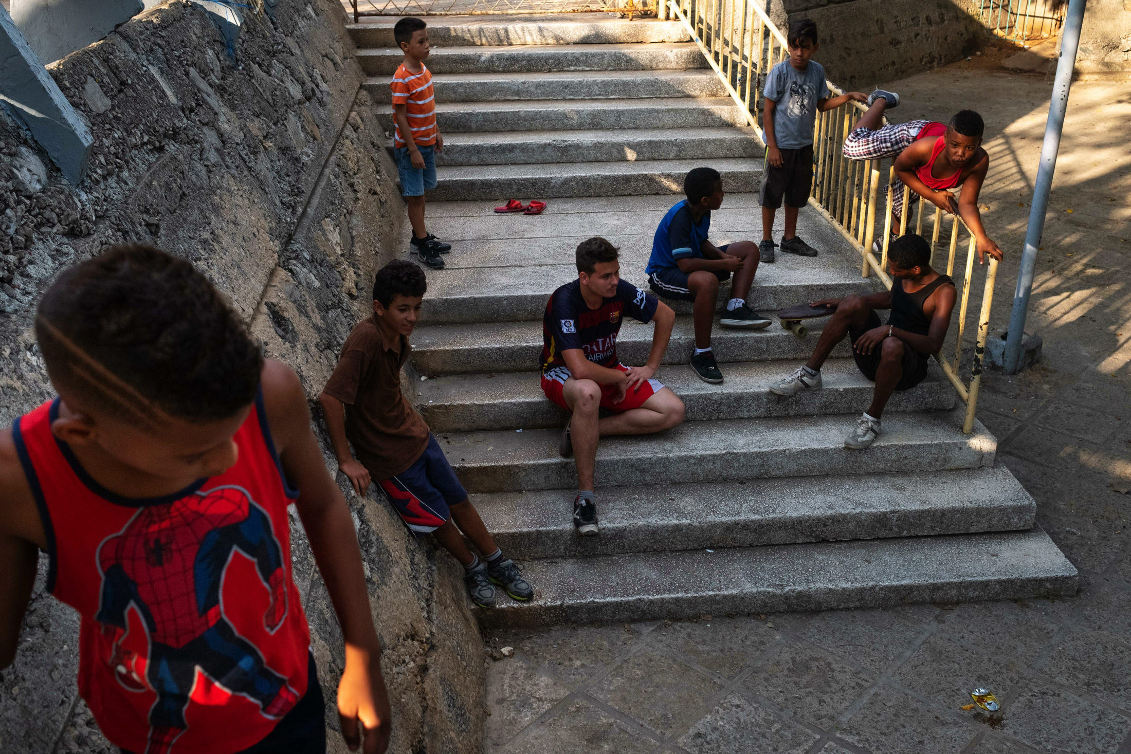 spider-man boy hanging out with his friends in Cuba