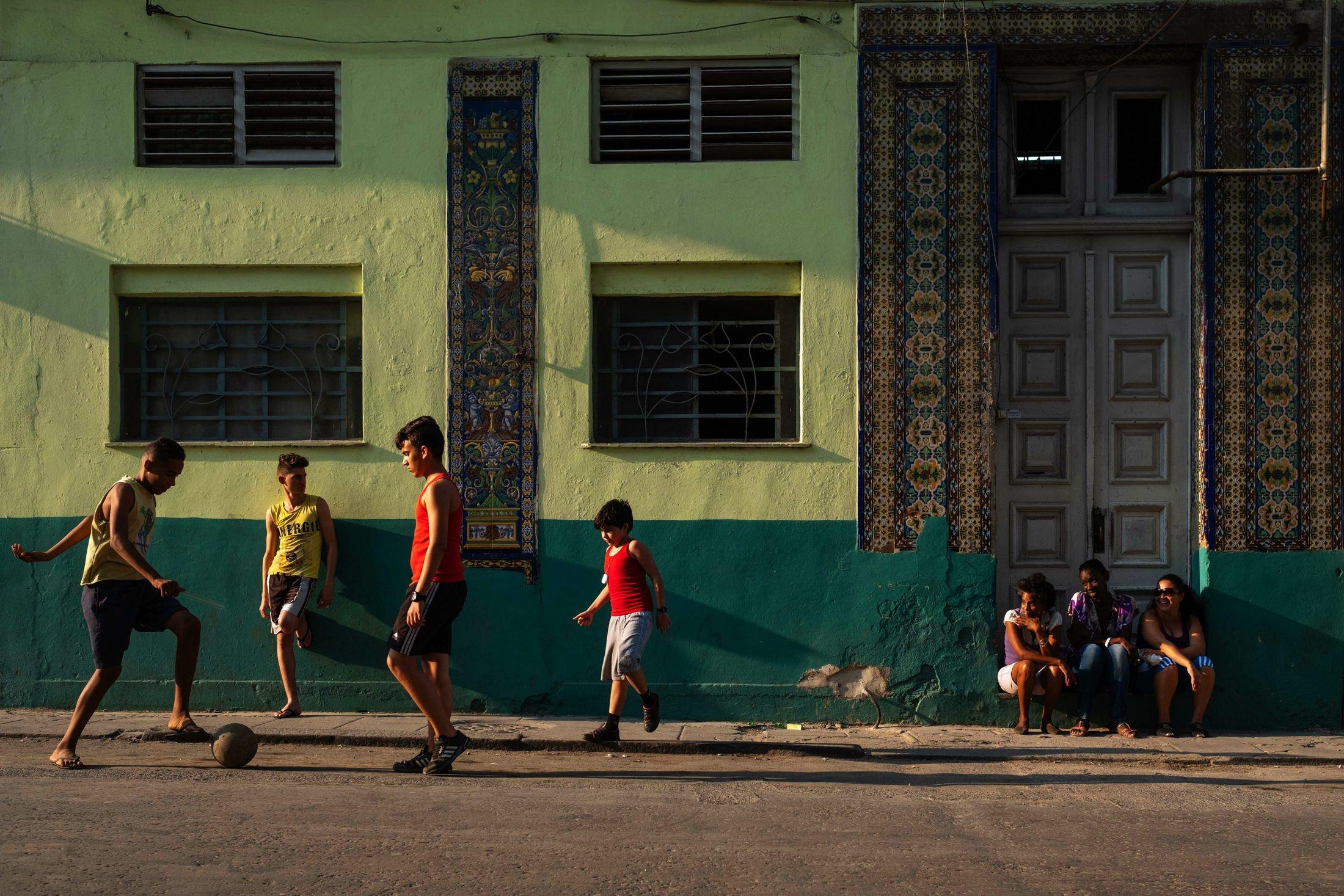 playing football in Havana, Cuba