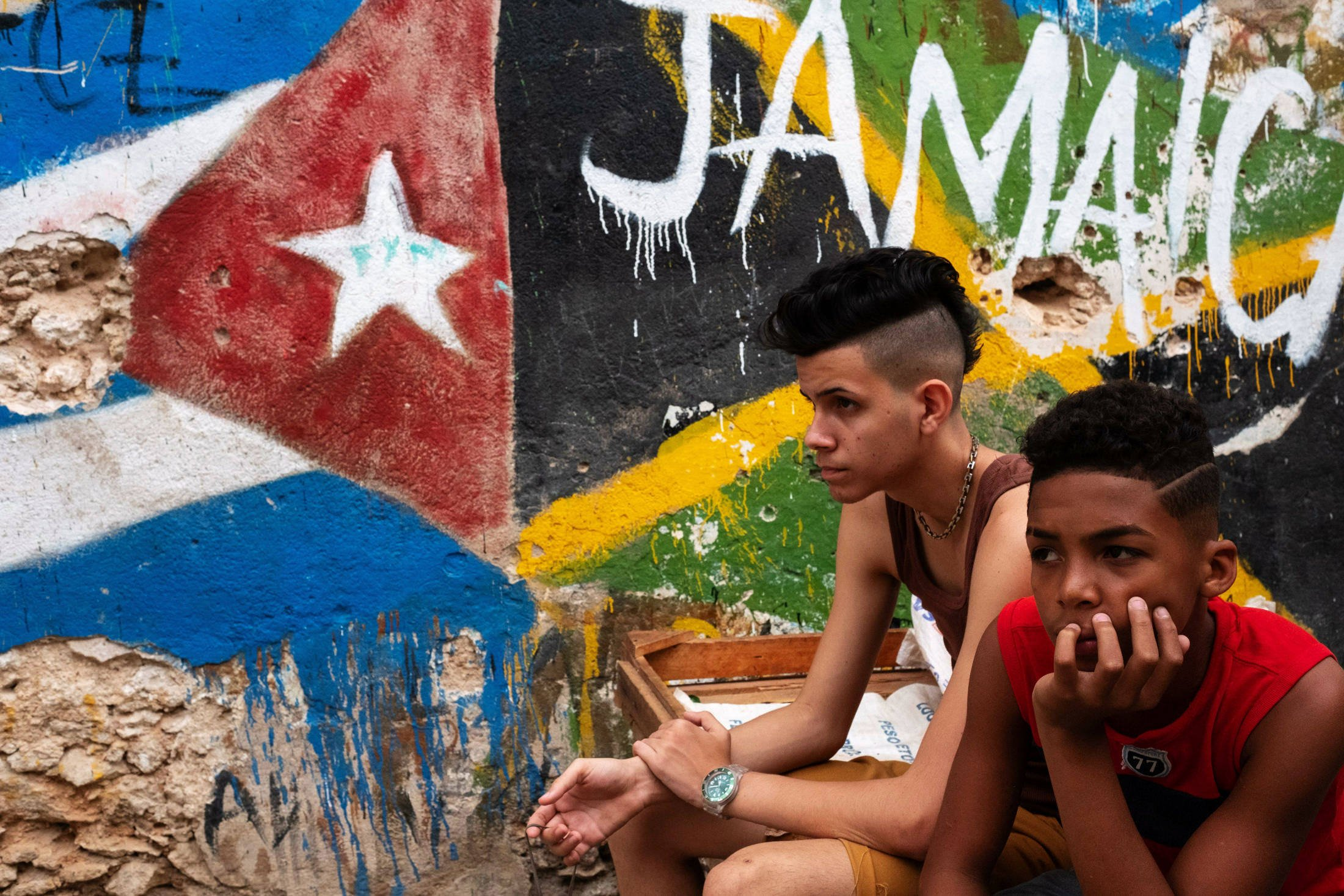 two boys sitting next to a painting with a Jamaican flag