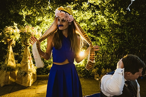 Pump House Battersea Park reception madness tiger head and girl in blue dress