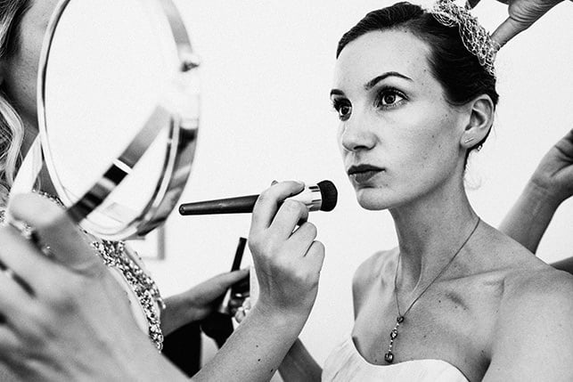 Pump House wedding bridal preparations black and white