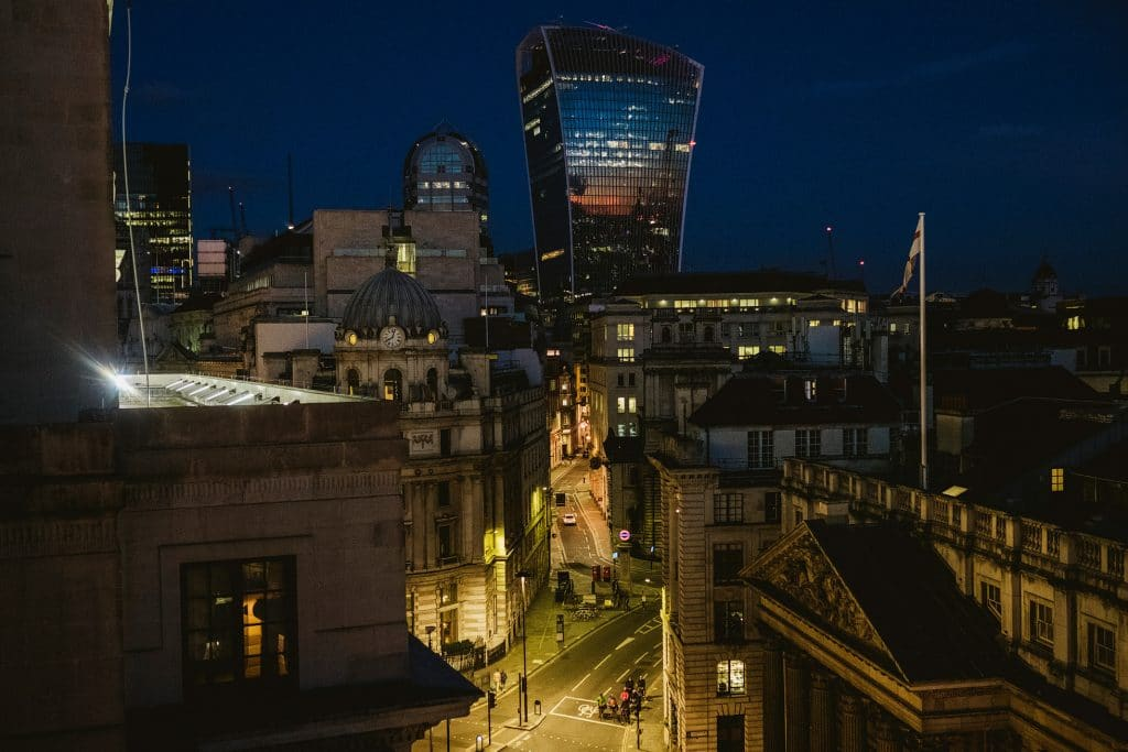 City of London skyline at night, captured from the terrace of luxury hotel The Ned in central London