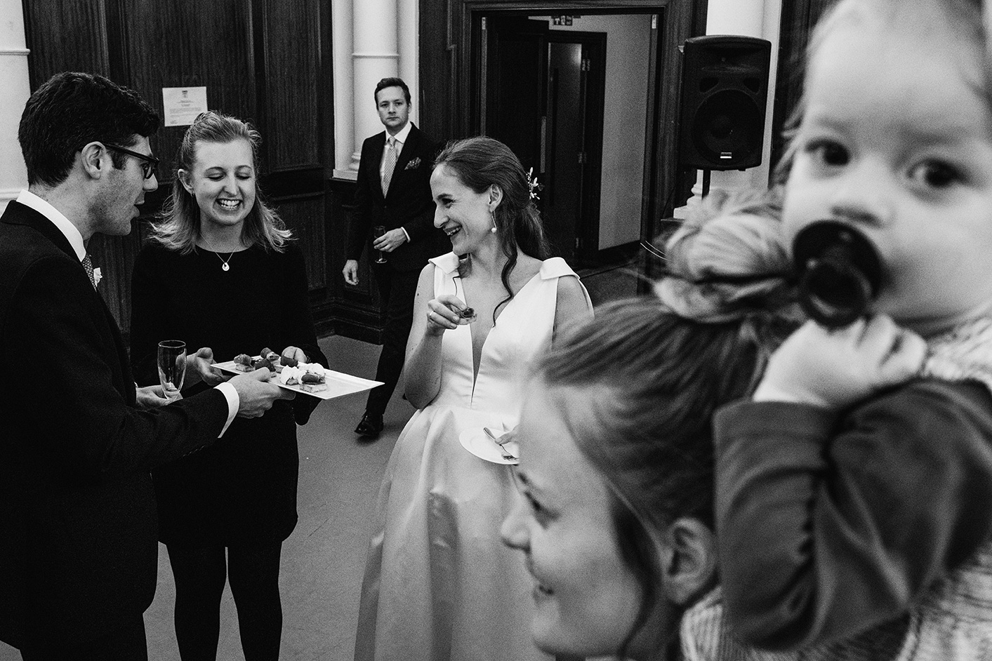 The Old Finsbury Town Hall reception with canapes in black and white