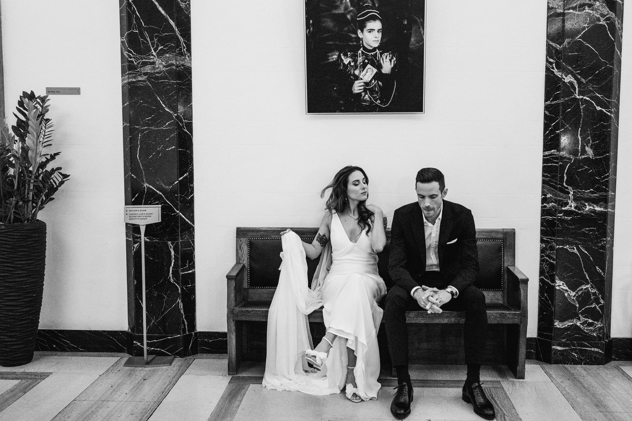 Town Hall Hotel Wedding Photography bride and groom