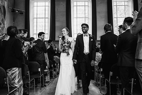 Wedding ceremony at Cecil Sharp House just married