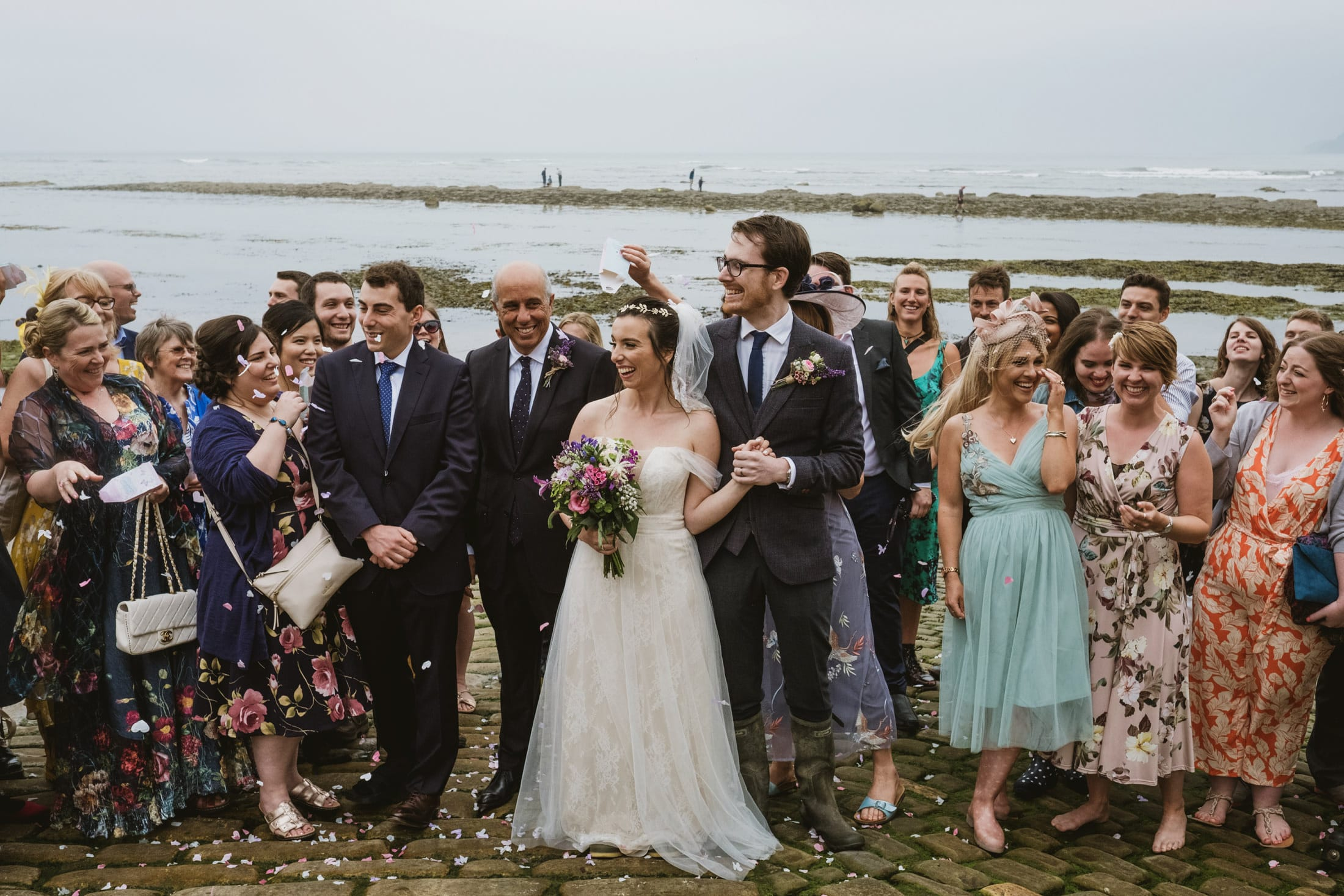 Wedding confetti at Robin's Hood Bay