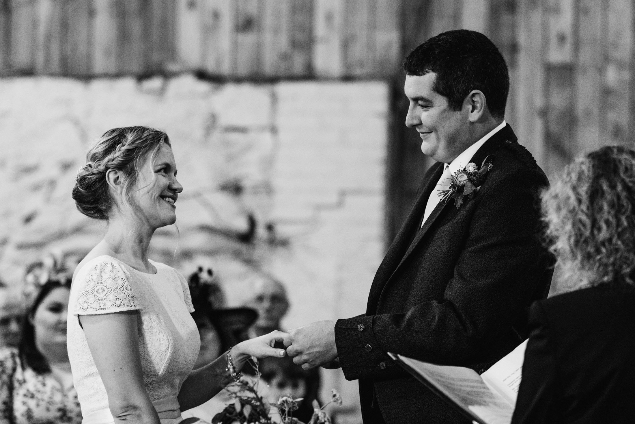 bride and groom during the ceremony at Comrie Croft