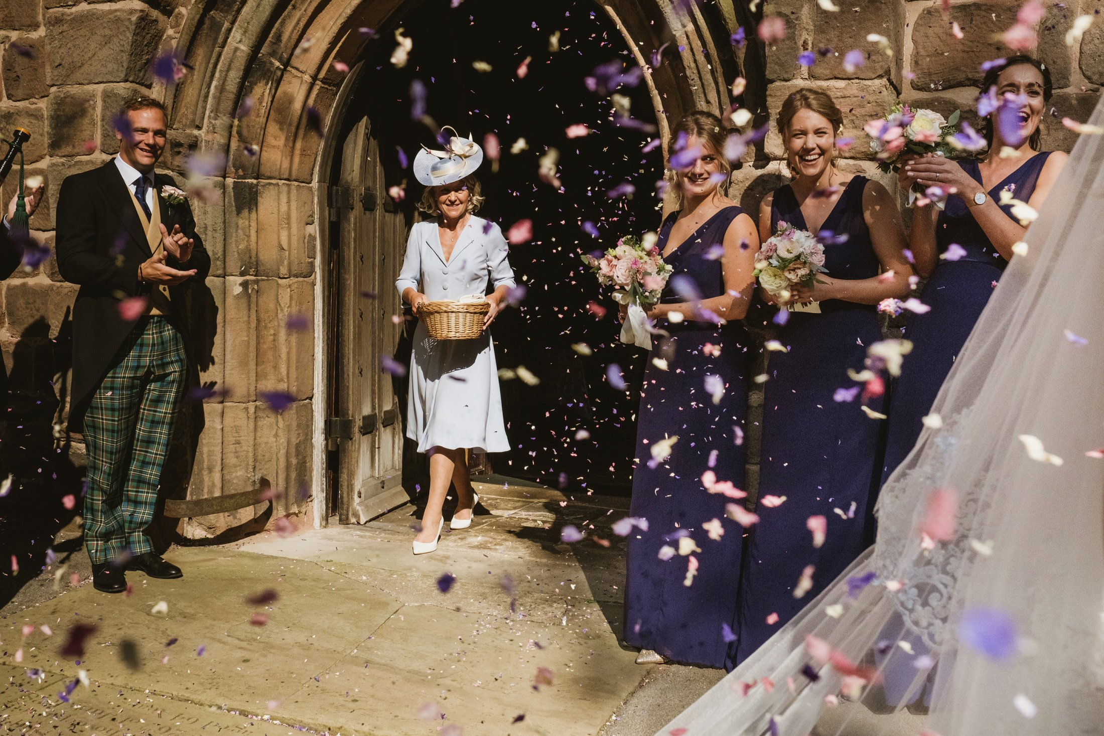 church confetti with guests