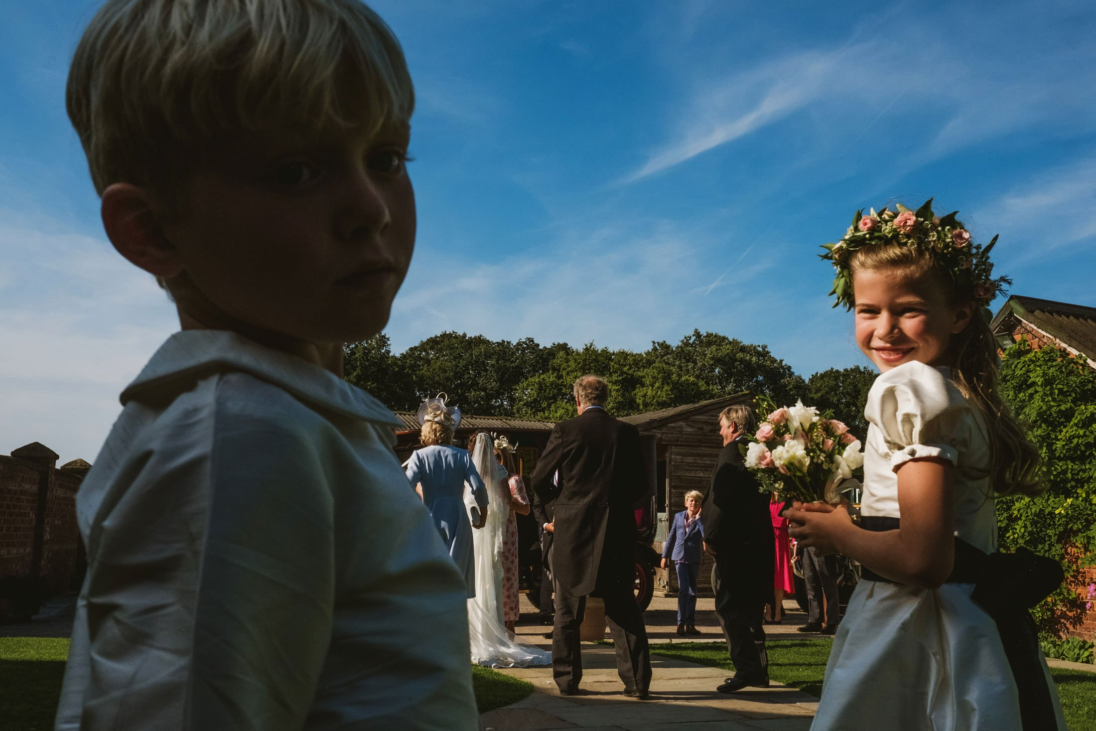flower girl at wedding reception in Cheshire