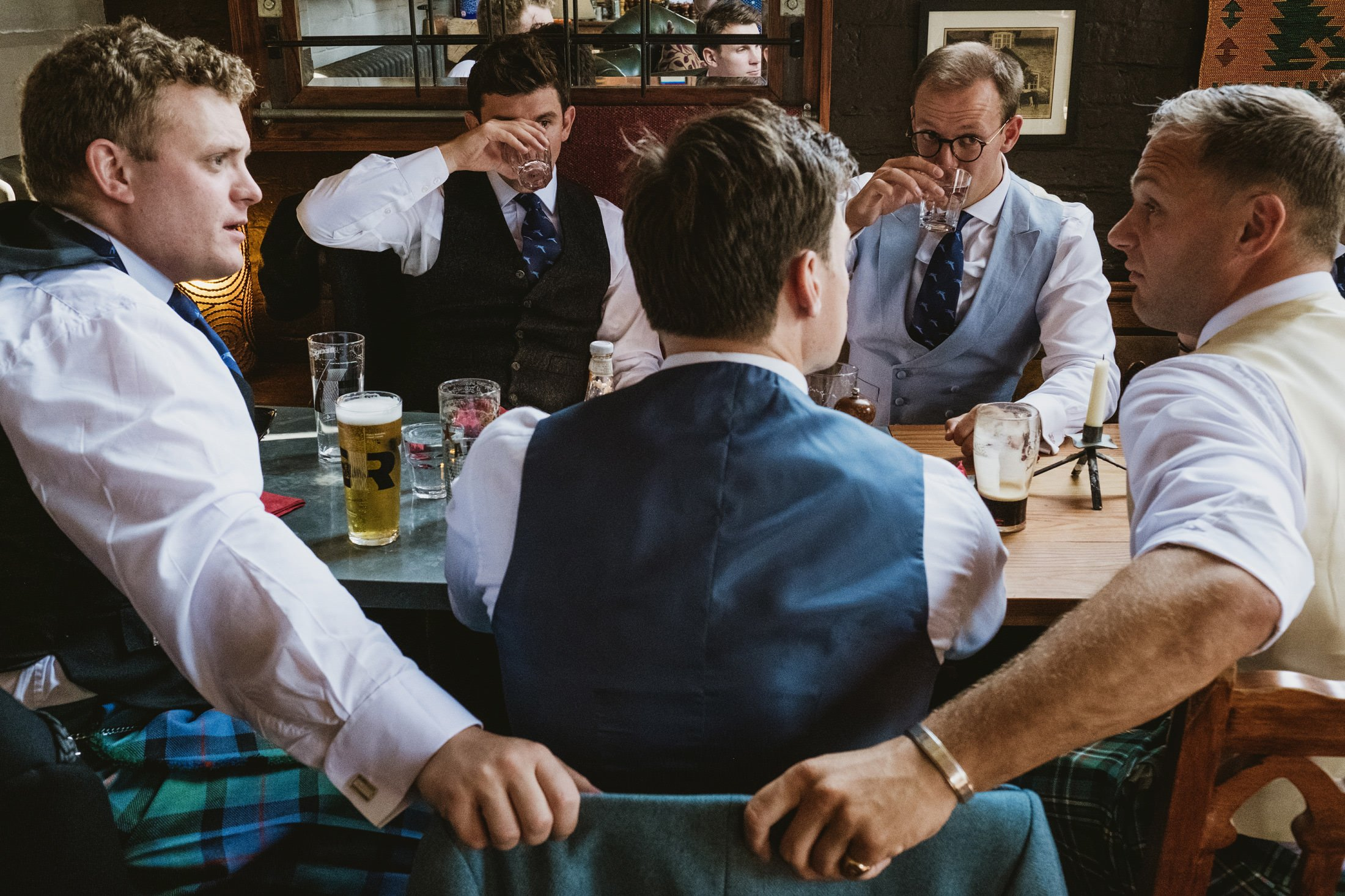 groomsmen waiting for lunch at Cheshire pub