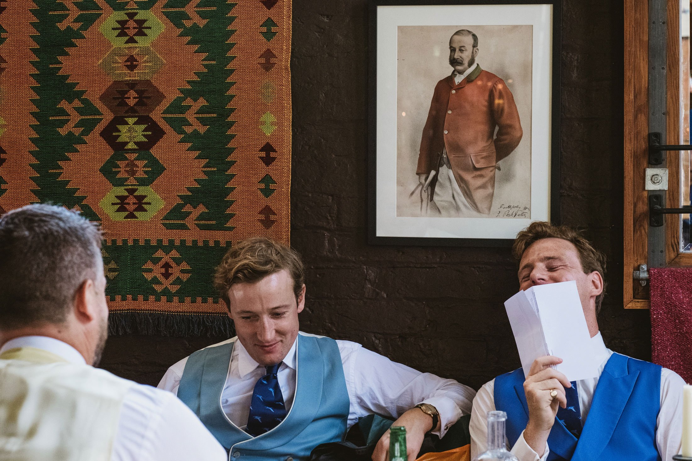 groom and groomsmen at pub in Cheshire