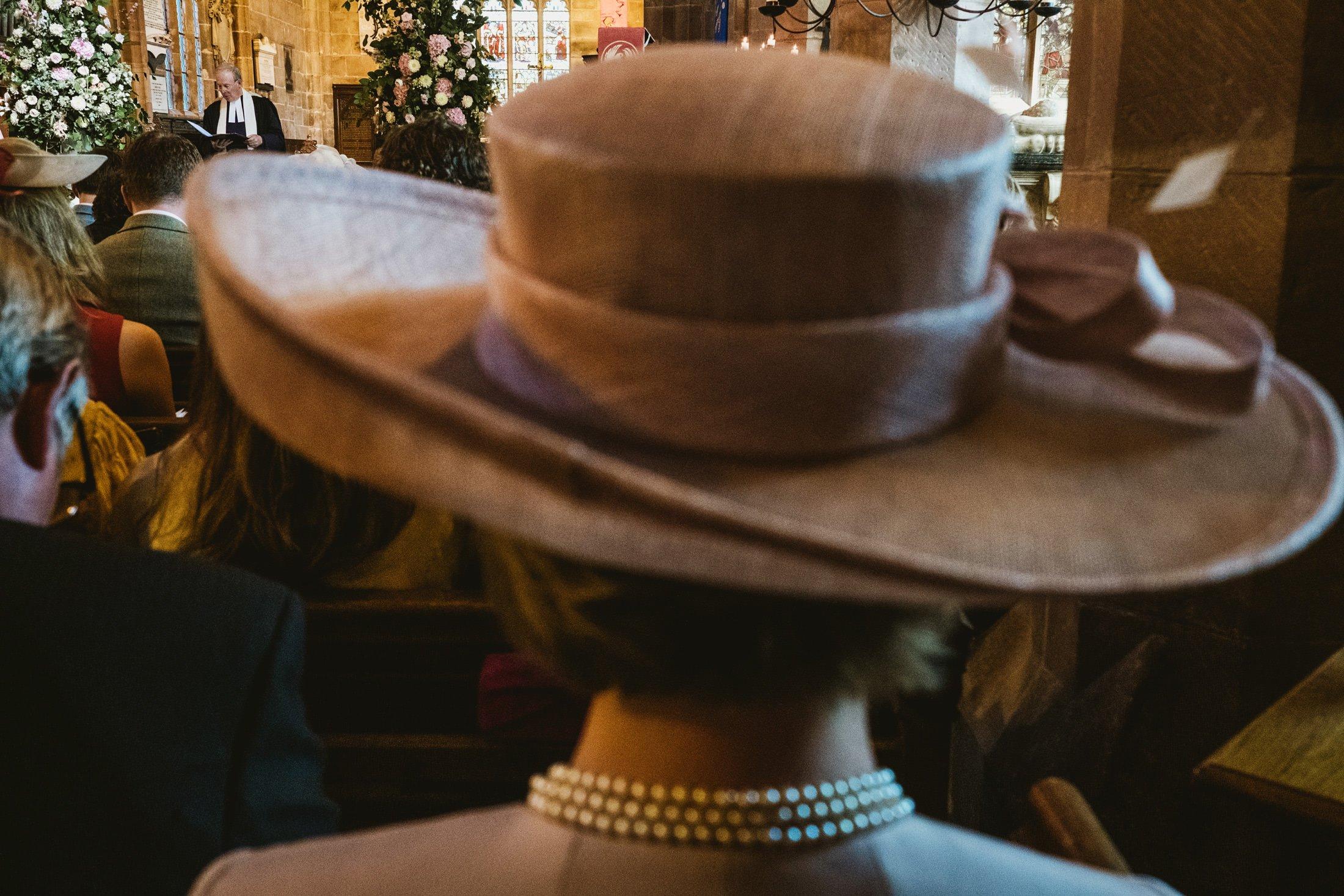 church wedding, guest with wedding hat