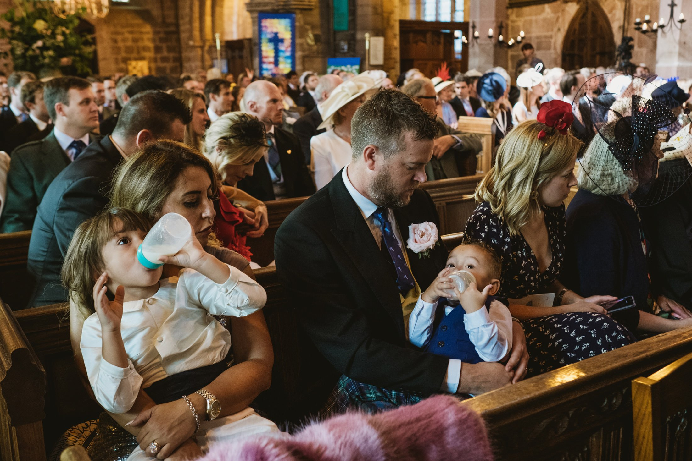 Wedding guests during the service