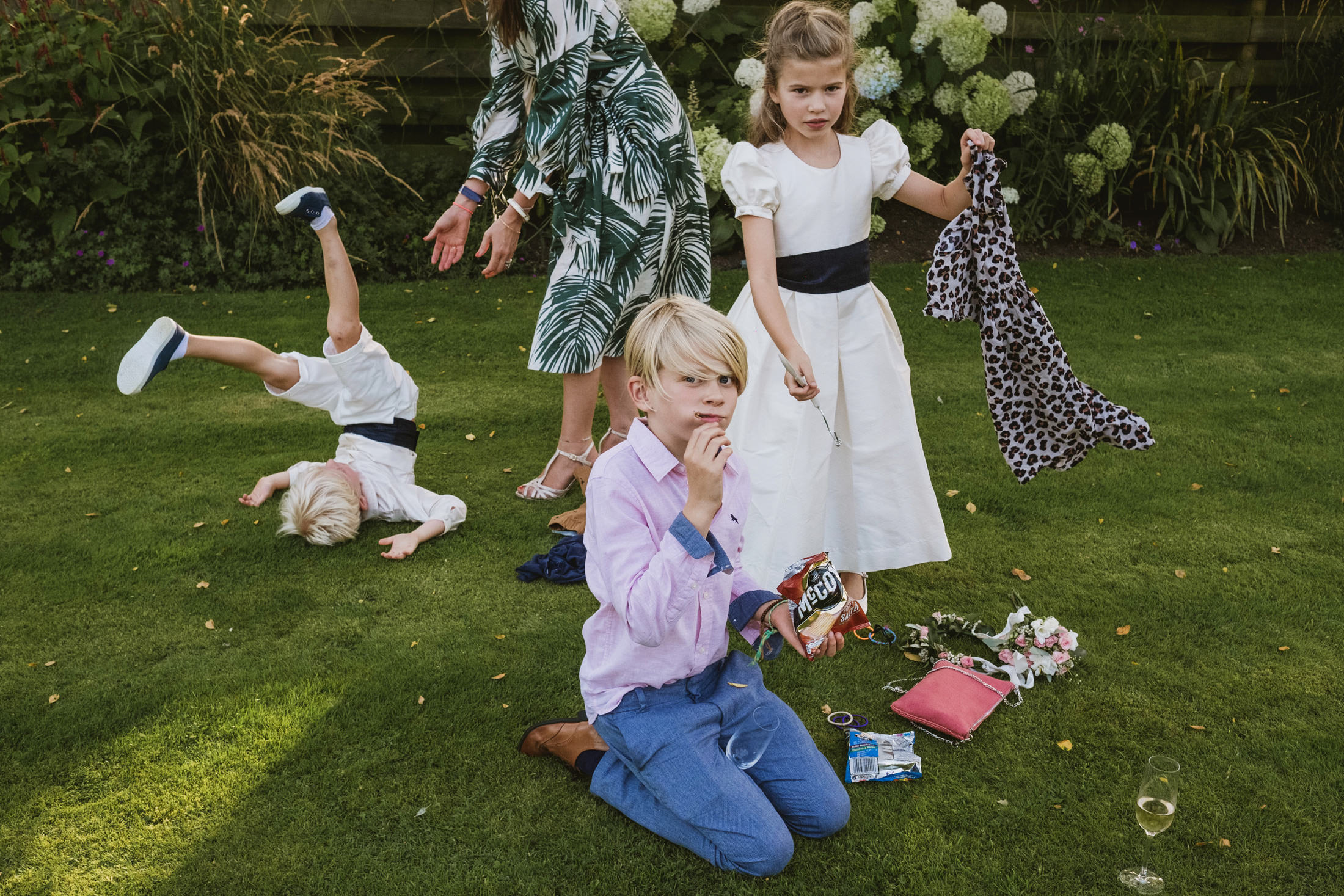 Cheshire documentary wedding photography with page boys and flower girl