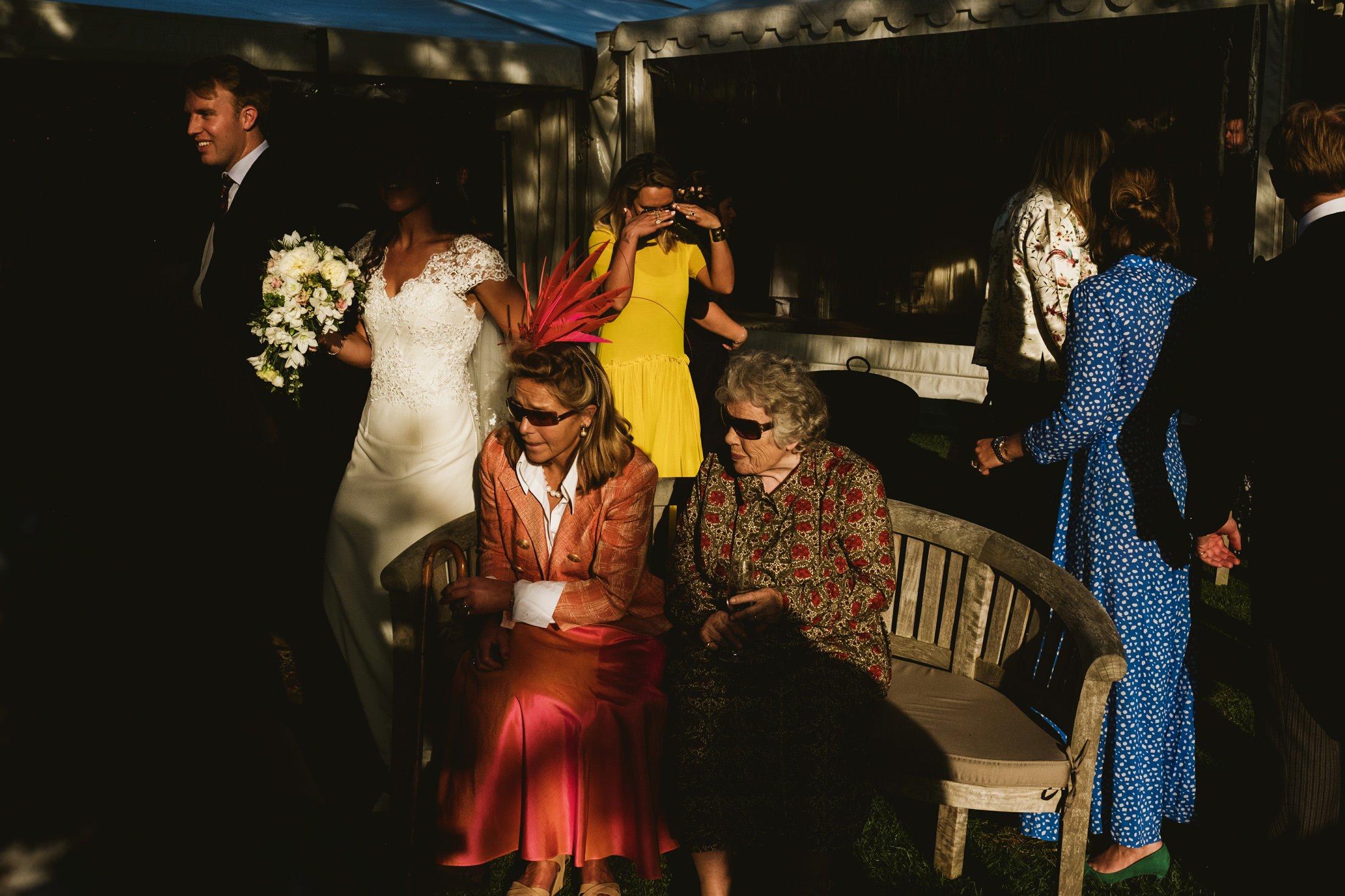 wedding reception in sunlight