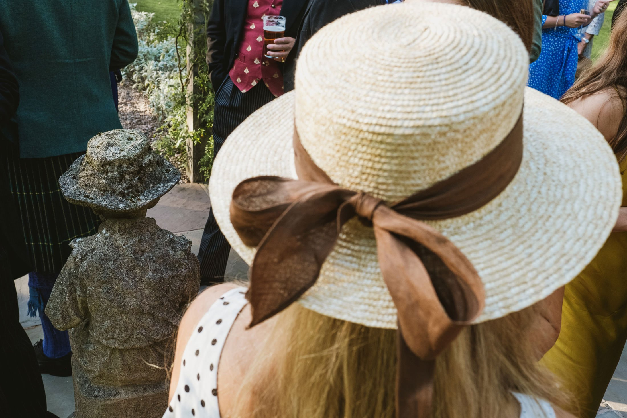 wedding hat and stone hat