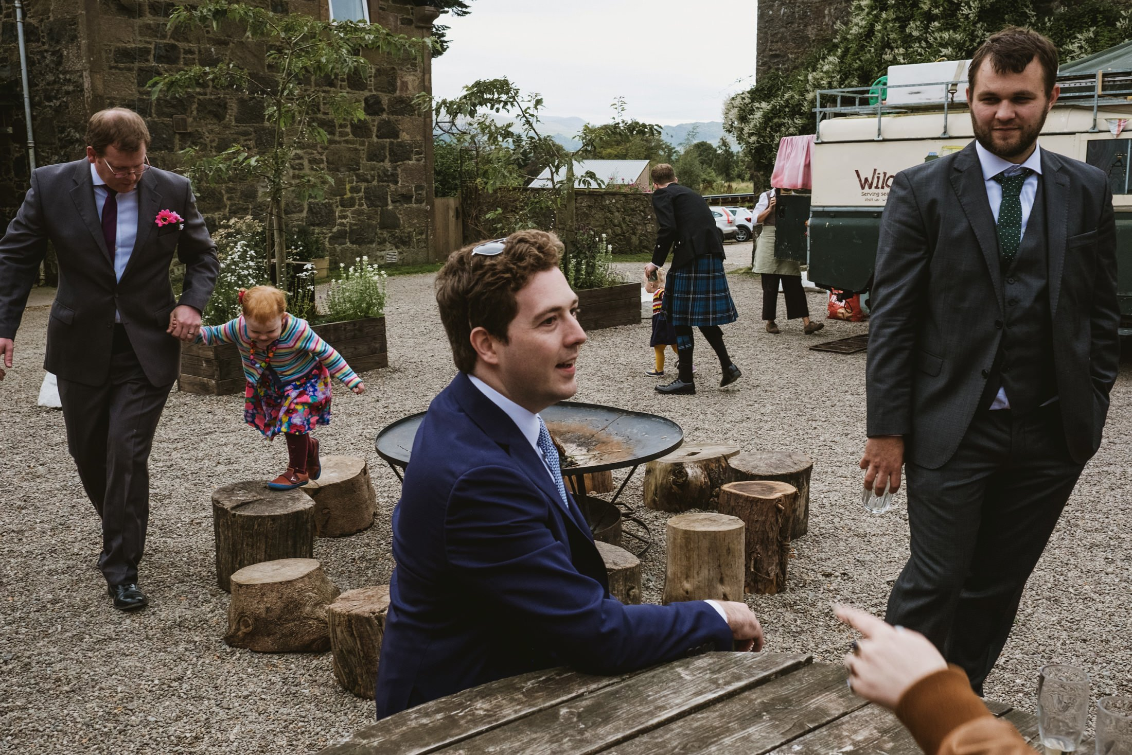 wedding guests at reception in Comrie Croft