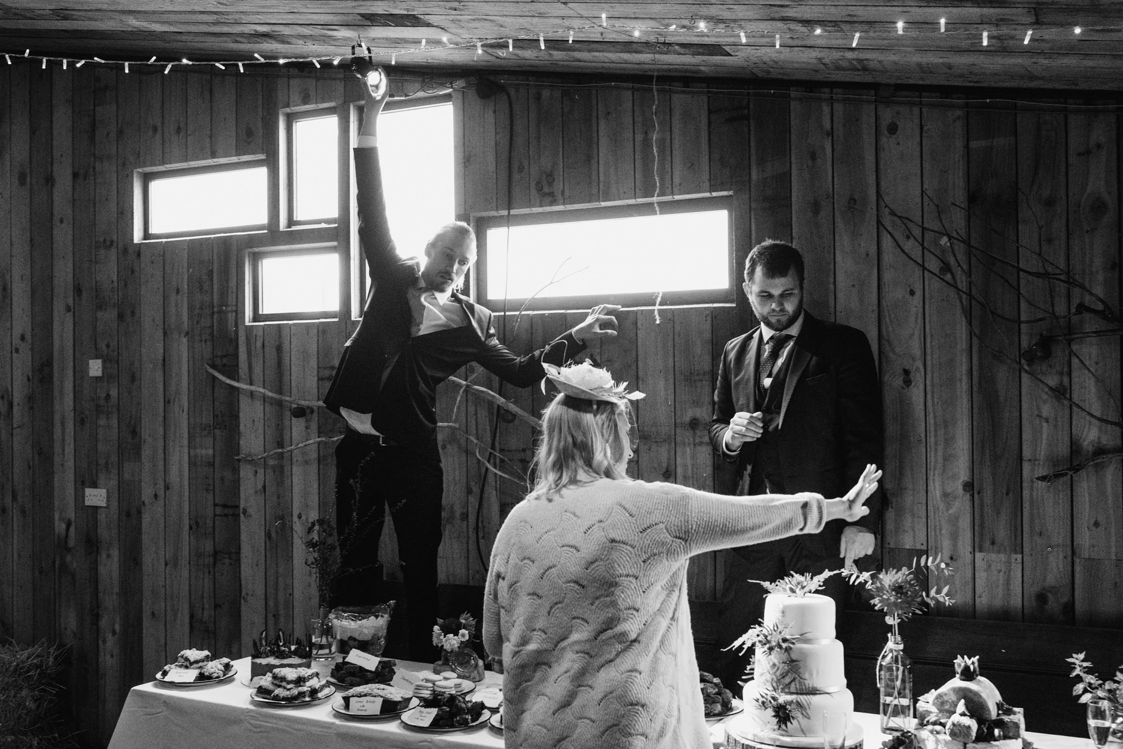 wedding guests helping with the wedding preparations